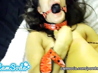 Crazy camsoda soda clip of mila getting ball gagged and fucked hard