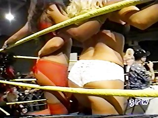 Jasmin st claire taking on georgeous George in a bra and panties match wwe