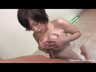 Japanese babe gets her big titties fucked and cummed on