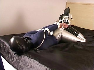 Hogtied in spandex disco jeans