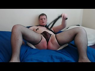 Submissive sissy slave self spanking for master