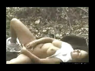 Chubby chick has solo fun in the woods
