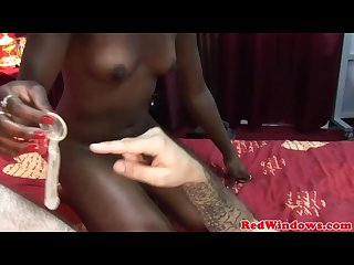 Real ebony hooker making her client cum twice