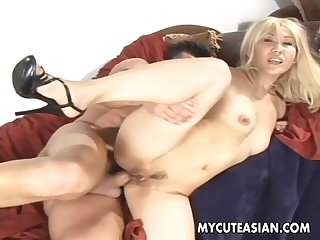 Asian blonde whore getting her ass filled up deeply