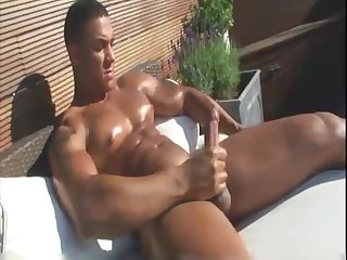 Black muscle photo shoot jerk off cum