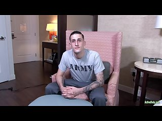 Activeduty tall straight army bro jerks his long cock