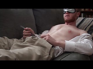 Blindfolded guy touches himself and cums