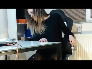 Nasty office whore fingers her juicy meat hole