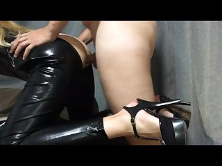 Blonde in latex cat suit hot sex