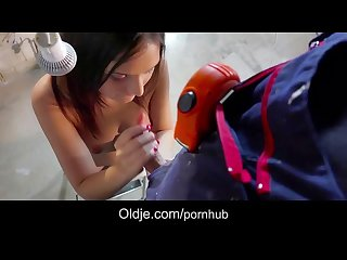 Stunning girl anina silk shows the old repairman how teen sex is done