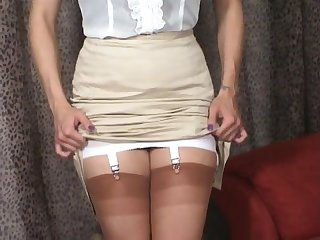 Mj pencil silk skirt girdle