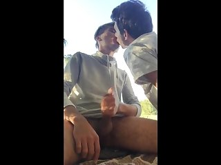 Makeout session ends in cumshot