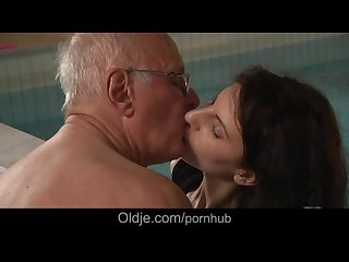 Old Fart fucking young brunette whore