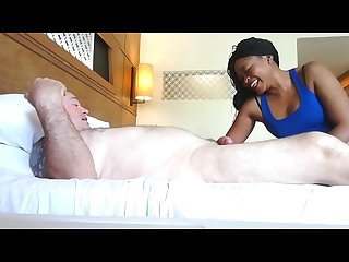 Hot African Tika gives a massage and sloppy blowjob with happy ending