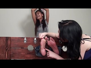 Asian foot model jazmin tickled