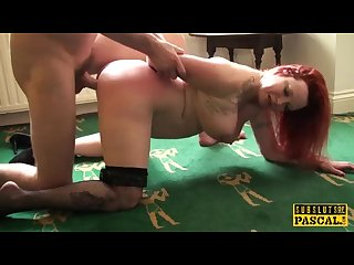 British redhead sub spanked before cockriding