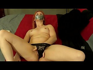 Gagged masturbation