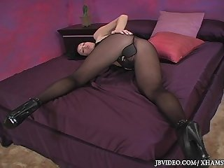 Gothic girl shows of pantyhose