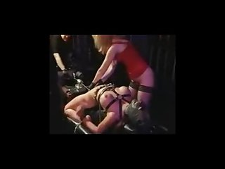 Hot slut tied down and machine fucked