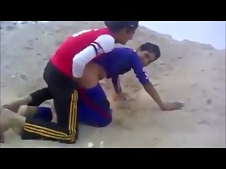 Inexperienced arab teens try to fuck in the sand