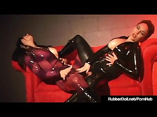 Latex cats rubberdoll jewell marceau lesbian strapon fuck