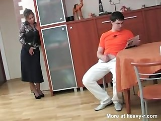 Russian mom caught her step son masterbating