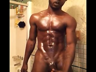Sexy fit muscular hung dick shower nut