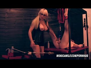 Femdom slave get s machine pegged and fucked by norwegian monicamilf