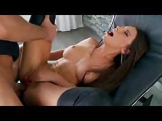Slim brunette with big tits gives a blowjob gets butt fucked by her lover