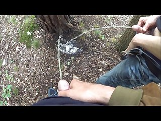 Pissing together with my best friend outdoor behind a tree compilation