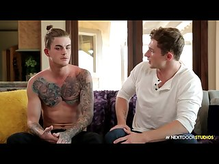 Tattooed hunk eats ass at casting call