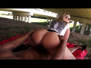 Pissing on bbc under a bridge