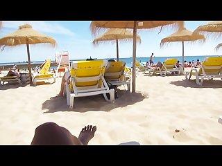 Beach public masturbation