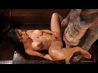 Barmaid dominates tattooed bartender and makes him eat her cum