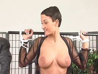 Pretty slut gets her amazing tits tied