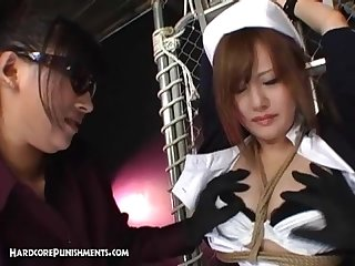 Japanese bdsm and bondage sex with femdom big vibrators and punishment