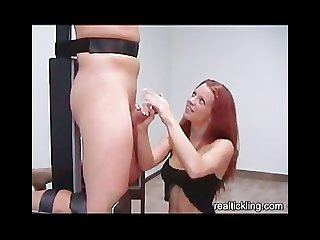 Hot bound handjob sensitive