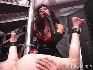 Mistress using slaves butthole as ashtray smoking femdom