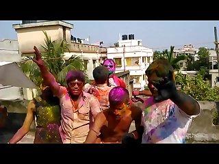 Wild holi celebration with exposing guy