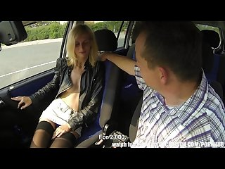 Blonde street whore banged in car
