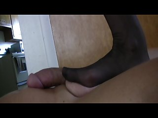 Humiliating nylon footjob