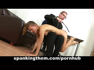 Spanking his lazy secretary