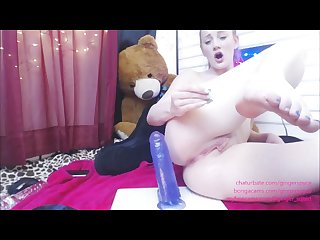 Redhead teen drips cum riding purple monster cock by gingerspyce