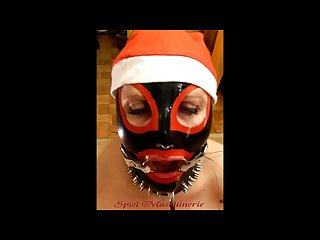 Jingle bells new year S eve latex mrs claus ring gag dripping deepthroat