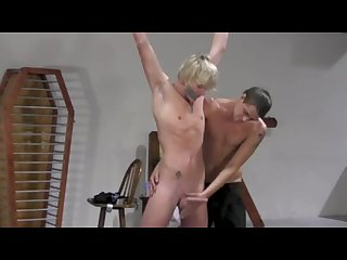 Two twinks, sub with long blonde hair, getting into BDSM, both cum