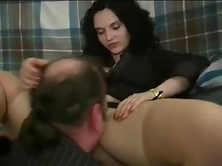 A woman making guy eat her pretty pussy and treating him like shit