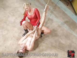 Pathetic man dominated by a blonde