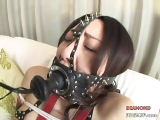 Asia bondage open mouth gag tied up