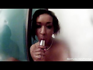 Behind the scenes shower fun with skin diamond
