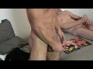 Friends masturbate together wearing black socks